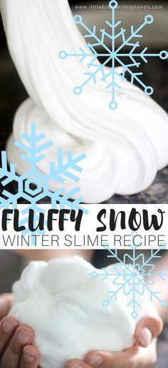 Fluffy winter science with homemade slime! Even if the weather isn't calling for snow outdoors, we can make our own homemade fluffy snow slime recipe indoors! Plus this one isn't nearly as cold and you don't need mittens to handle it. Our fluffy slime recipe is by far the coolest slime recipe we love to make. I just had to make a snowball fluffy slime to go along with our melting snowman slime. It's a slime addiction. #fluffyslimerecipe #fluffyslime #slime #slimerecipe #DIYslime