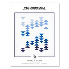 MIGRATION QUILT Inspired by the beauty of geese migrating on a clear fall day along the South Texas coast, this quilt is created with Robert Kaufman's Kona® Cotton Solids and features three color-ways