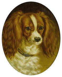 George Jackson (British, active 1830-1864) Portrait of a King Charles spaniel