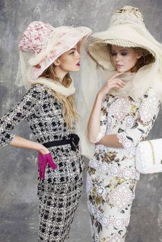 Ladies wearing Stephen Jones for John Galliano hats. Photographed by Arthur Elgort,