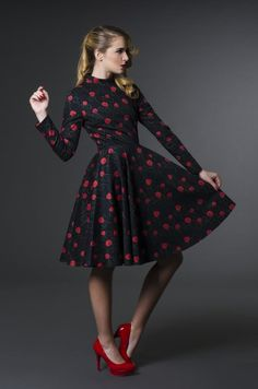 Outstanding timeless elegant black dress with sophisticated, unique romantic flower prints designed by Vilorija, inspired by Roses and Fairy Tales.  Fabric:  Cotton sateen,  with unique Vilorija print patterns