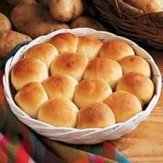 Easy Potato Rolls Recipe: I love potatoes and I love bread. Can't wait to try this. The recipe developer said that leftover mashed potatoes go in these rolls . . . leftover mashed potatoes? Whoever heard of such a thing? : )