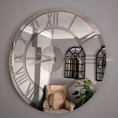 Mirror Wall Clock Metal Wall Clock Metal Wall Art Wall | Etsy Silver Wall Clock, Mirror Wall Clock, Clock Art, Wall Clocks, Large Round Mirror, Round Mirrors, Metal Walls, Metal Wall Art, Wall Clock Price