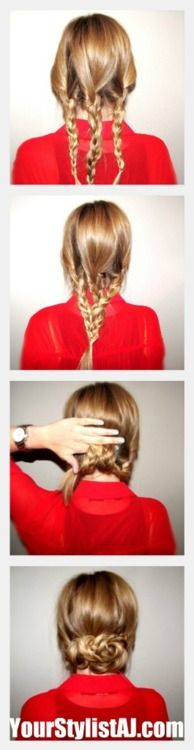 Begin with three regular three strand braids and wrap with clear elastic  Loosely braid all three strands together in a regular three strand braid and wrap with clear elastic  Roll the braid up, hiding the tail, and secure with bobby pins  Pull apart and loosen up the bundle of braids and continue pinning until the foundation is somewhat symmetrical