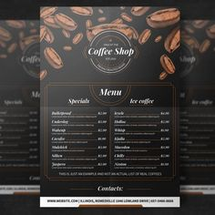 Coffee Roaster - Simple Guidelines To Help You Brew An Excellent Cup Of Joe! Coffee Shop Menu, Coffee Store, Coffee Logo, Coffee Branding, Menu Café, Menu Flyer, Food Menu, Restaurant Flyer, Restaurant Menu Design