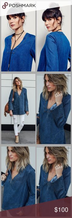 """❤️Free People Denim Tunic❤️ New without tags. I will only consider reasonable offers through the offer button, NO TRADES!   Embroidered detailing and intense fading accents this sturdy denim Free People tunic. On-seam side pockets. Long bell sleeves.   Fabric: Denim. 100% cotton. Wash cold. Length: 30"""" from shoulder- measurements from size small. Free People Dresses Mini"""