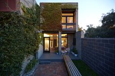 foomann - architecture + design   haines street, north melbourne, vines and courtyard at dusk