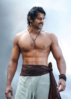 Prabhas shirtless body as seen in Baahubali 1 in 2015...