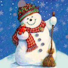 Snowmen are so cute. Merry Little Christmas, Christmas Love, Christmas Snowman, Christmas Ornaments, Christmas Canvas, Homemade Christmas, Christmas Holidays, Frosty The Snowmen, Cute Snowman