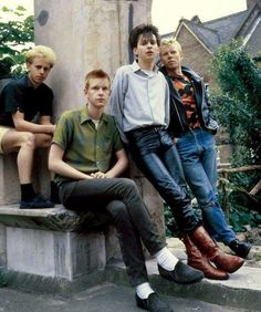 Early Depeche Mode, circa 1980: from left to right: Martin L. Gore, Andrew Fletcher, David Gahan, Vince Clarke.