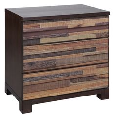 A mosaic of natural rich reclaimed wood made of unique texture and color make the palette for each drawer face on the Tavarua dresser, creating a simple yet bold update to any room. Features 3 drawers for storage, felt lined top drawer, and full extension ball bearing glides.  No assembly required.