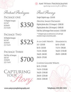 Photography Price List Pricing List for by PhotographTemplates