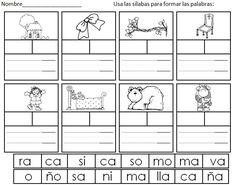 Actividades y reproducibles para practicar sílabas abiertas.