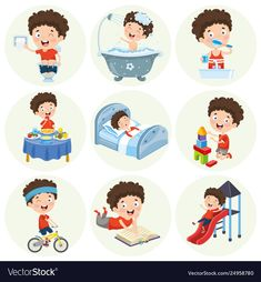 Illustration of cartoon character Premium Vector Montessori Activities, Infant Activities, Learning Activities, Kids Learning, Activities For Kids, Flashcards For Toddlers, Preschool Worksheets, Preschool Crafts, Daily Routine Activities