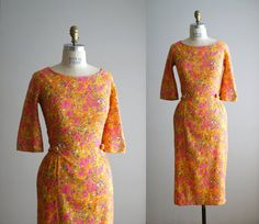 60s dress / 1960s printed wiggle dress Marjorie by VacationVintage, $84.00