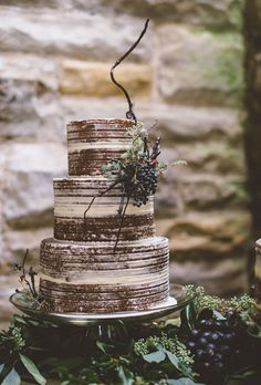 Almost-Naked Chocolate Wedding Cake. An almost-naked chocolate wedding cake adorned with a bushel of grapes and a modern decorative branch.