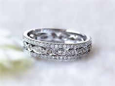 Diamond Wedding Band Set Of 14K White Gold Milgrain Bezel Diamond Ring and 2 thin Mico pave diamond Half Eternity Wedding Band