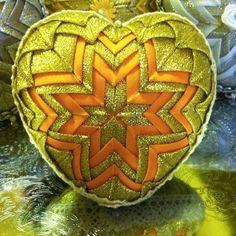 quilted golden-orange heart, christmas patchwork decoration