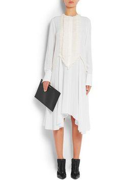Givenchy - Ruffled Midi Dress In White Silk Crepe De Chine - FR42