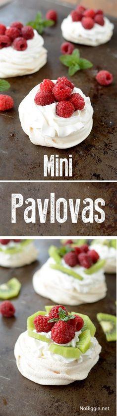 Mini Pavlovas with fresh fruit and fresh berries - so good!   recipe on http://NoBiggie.net