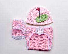 BABY GOLF HAT, Baby Girl Golf, Crochet Golf Girl, Baby Golf Knit Hat, Golf Baby Pink, Baby Golf Hat, Golf Baby Outfit, Crochet Baby Golf by Grandmabilt on Etsy