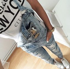 http://www.myfashiondaily.com/category/overalls/ Pocket Destroy Wash Denim…