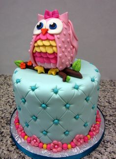 Owl 1st birthday with a tufted base! #childrensbirthday #cake #firstbirthday