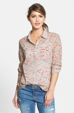 Caslon® Cotton Blend Blouse (Regular & Petite) | Nordstrom in a grey and green plaid. So soft.