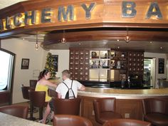 My favorite bar on the Carnival Liberty - the Alchemy Bar Carnival Liberty Cruise, Spring Break Cruise, Carnival Breeze, Cruises, Alchemy, Liquor Cabinet, House Ideas, Bar, Pretty