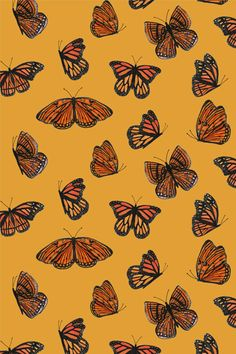 phone wallpaper collage New Summer/Autumn 2014 print for clothing amp; Cute Patterns Wallpaper, Aesthetic Pastel Wallpaper, Aesthetic Wallpapers, Butterfly Wallpaper Iphone, Iphone Background Wallpaper, Iphone Wallpaper Yellow, Orange Tapete, Photowall Ideas, Orange Wallpaper