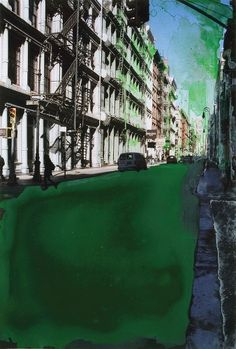 Artist: Gottfried Salzmann  Title: Green Street  Medium: mixed media on photograph  Size: 30 x 20  Year: 2010