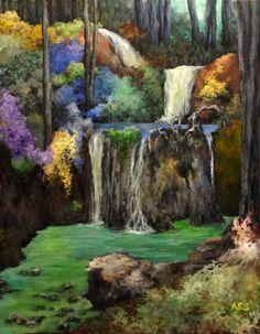 Waterfall Scene Original Acrylic Landscape Nature Painting on Canvas Panel 12x16