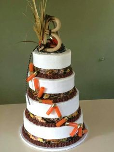 Cute cake for a camouflage themed wedding! #camo #country Don't forget personalized napkins to match. Brown, ivory, and orange would be perfect! www.napkinspersonalized.com