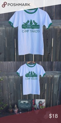 "Camp Takota ringer shirt SZ S Camp Takota ringer shirt SZ small armpit to armpit 18"" front length 22"" in good condition! Vintage Tops Tees - Short Sleeve"