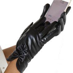 Womens Winter Warm&soft Import Goatskin Leather Gloves