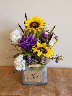 Sunflower Floral Arrangement - Country Home Decor - Yellow and Purple Floral Arrangement - Farmhouse Floral Arrangement-Floral Home Decor
