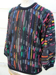 Coogi Australia Bill Cosby Era Vtg 80's Men's Vibrant Colorful Knit Sweater M | eBay