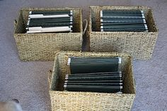 DIY - baskets turned file cabinets. definitely trying this!