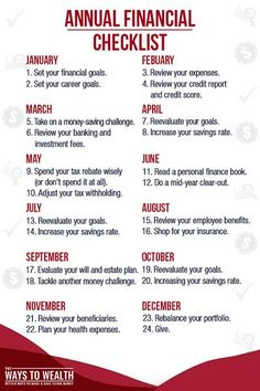 Whether you're getting married, buying a house, having a baby, or want to retire early, use this annual financial checklist to help. Financial Peace, Financial Tips, Financial Literacy, Retirement Financial Planning, Financial Business Plan, Business Accounting, Faire Son Budget, Planning Budget, Year Planning