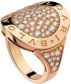 Bvlgari BVLGARI-BVLGARI 18ct pink-gold and pavé-diamond ring on shopstyle.com