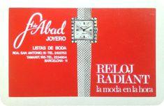 F. de ABAD - 1968 - Joyero - RELOJ RADIANT La moda en hora - Calendario de bolsillo fabricado por Heraclio Fournier