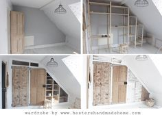 Wardrobe With Reclaimed Doors in an upstairs with a sloping ceiling. Wardrobe With Reclaimed Doors in an upstairs with a sloping ceiling. Ikea Storage Units, Reclaimed Doors, Garden Shelves, Slanted Ceiling, Built In Wardrobe, Ikea Wardrobe, Cupboard Wardrobe, Front Rooms, Handmade Home