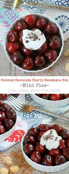 Cherry pie for breakfast! Healthy enough to eat for breakfast, decadent enough to eat for dessert~Coconut Chocolate Cherry Macadamia Nut Mini Pies {raw, vegan, gluten-free, paleo}