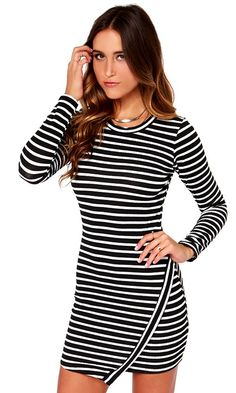 Striped Long Sleeve Dress//