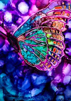 Alcohol ink painting. Abstract Butterfly by KCsCornerGallery, $28.00