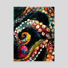 A mixed media piece celebrating the changing colors of octopus! Details of the tentacles, squeezed into an interesting shape - octopus painting - octopus art - mixed media art Octopus Drawing, Octopus Painting, Octopus Wall Art, Painting & Drawing, Octopus Tentacles, Decoracion Habitacion Ideas, Canvas Art, Canvas Prints, Art Prints