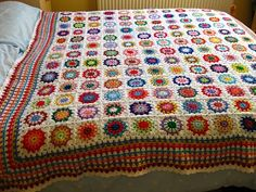 I really like the granny stripe border on the Flowers in the Snow squares.  Might do something similar for my Sunny Spread Blanket.