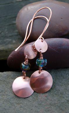 Bright Copper and Lampwork Earrings by elizabethfisher22 on Etsy, $18.00
