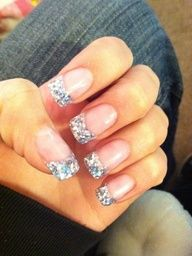 This idea is growing on me, with a white strip before the silver. Prom nails though?