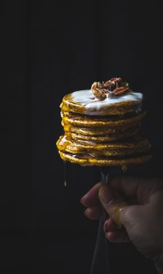 Pumpkin Pancakes | Top With Cinnamon